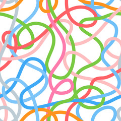 Colorful tangled wires or threads on white seamless pattern