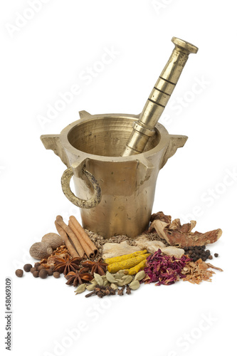 Moroccan Mortar, pestle and herbs