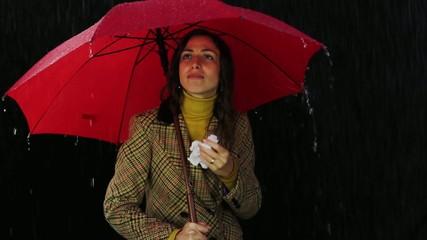Sick Woman Holding Umbrella Blowing Nose Cold Symptoms