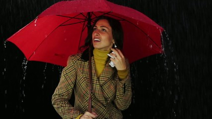 Cold Symptoms Runny Nose Woman Standing in Rain