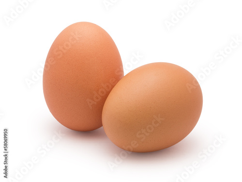 Foto op Canvas Egg two eggs isolated on white