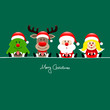 Christmas Tree, Rudolph, Santa & Angel Gift Green