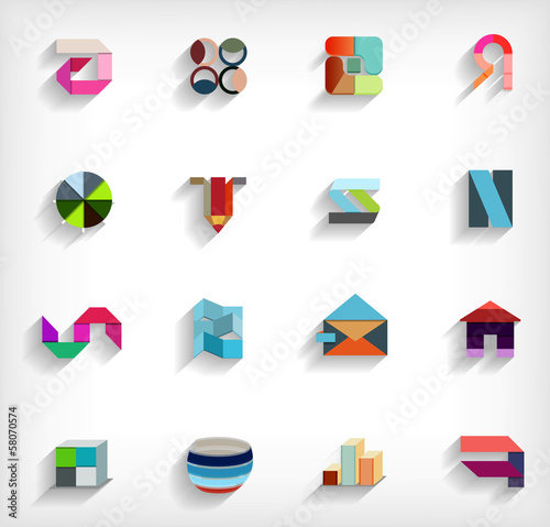 3d flat geometric abstract business icon set