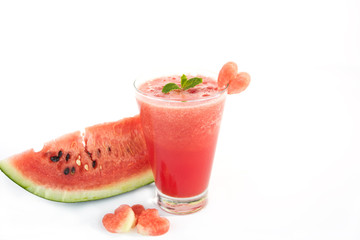 Watermelon juice on white background