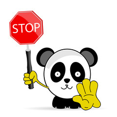 sweet and funny panda with sign stop vector