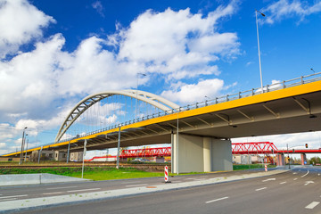 Highway viaduct in Gdansk city center, Poland