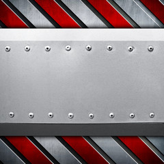 metal plate with warning stripes