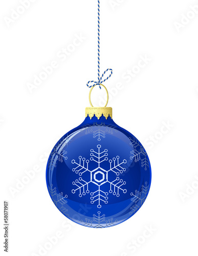 Blue glass christmas ball