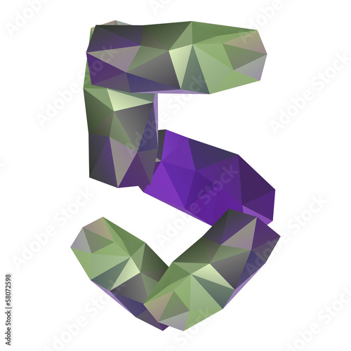 Geometric crystal digit 5