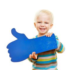 Kind halt blauen Daumen hoch