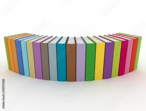 Multi color books in a row