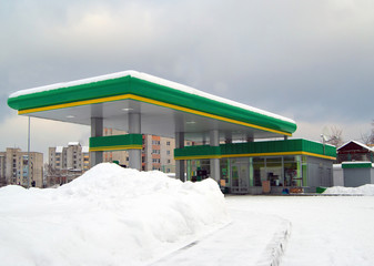 gas station in city