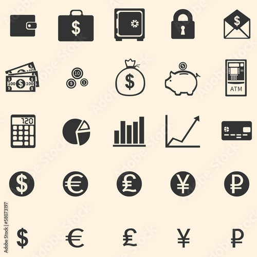 vector set of 25 finance icons