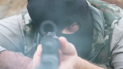Violent Terrorist Assassin Gunman Aiming War Shooting Rifle Fire