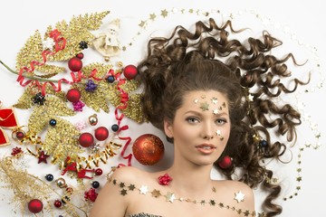 christmas portrait of woman with xmas decorations