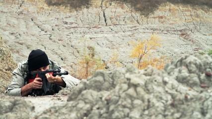 War Concept Terrorist Waiting to Ambush Rifle War Concept