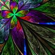 Multicolor fractal flower on black background. Computer generate