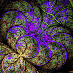 Beautiful fractal flower in green and purple. Computer generated