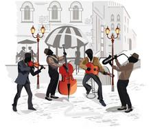 Café de la calle con los músicos