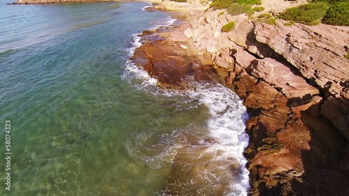 Aerial view of rocky coastline