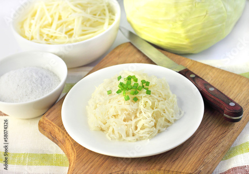 Sauerkraut and ingredients for making it