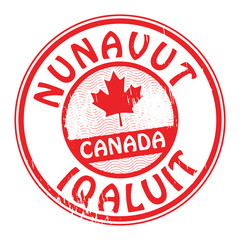Stamp with name of Canada, Nunavut and Iqaluit