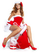 Christmas Santa hat isolated woman portrait hold christmas gift.