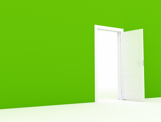 Open door large green wall