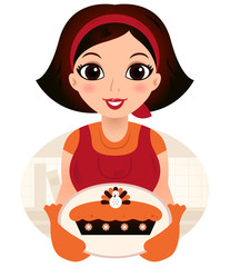 Retro cartoon Woman serving Thanksgiving food