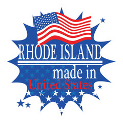 Label with flag and text Made in Rhode Island, vector
