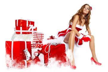 beautiful sexy girl wearing santa claus clothes