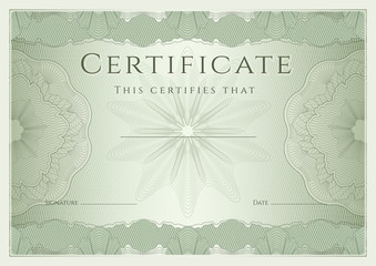Certificate / Diploma template. Guilloche pattern, award border