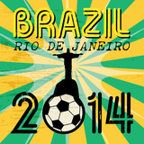 Football background with words Brazil, Rio de Janeiro, vector