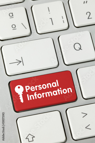 Personal information keyboard
