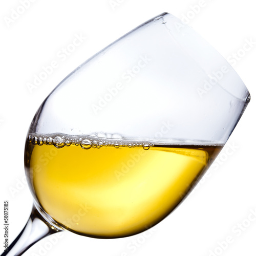 White wine isolated  on white  ,saved clipping path