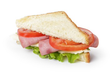 triangle sandwich with ham, cheese and vegetables
