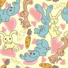 Seamless pattern with cute bunny doodles