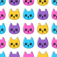 Cute seamless pattern with smiling colorful cat faces