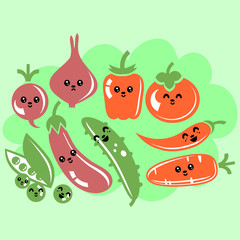 Set of various cute kawaii vegetables with faces