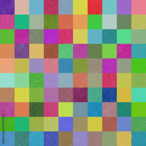 Multi-color squares mosaic background