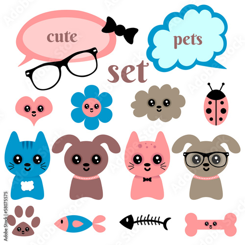 Set of cute happy animals and random elements