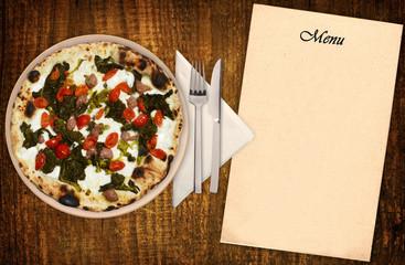Pizza rape e salsiccia di norcia con menu