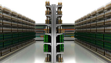 Bottiglie di birra, corsia supermercato, alimentari