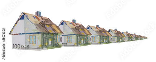 Row of houses made of money