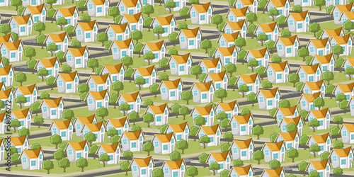 Colorful suburb neighborhood with isometric houses