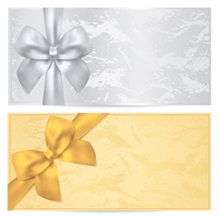 Gift certificate, Voucher, Coupon. Gold, silver  template. Bow