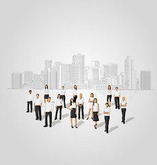 business people in front of a city