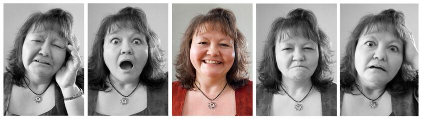 Reihe verschiedener Gesichtsausdrücke einer Frau
