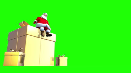 Santa sits on top of a giant Golden present. Loopable.
