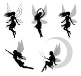 Fototapety Collections of vector silhouettes of a fairy.